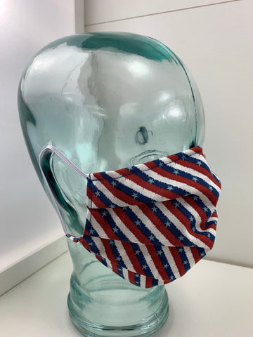Fashionable Face Mask in Patriotic Strips