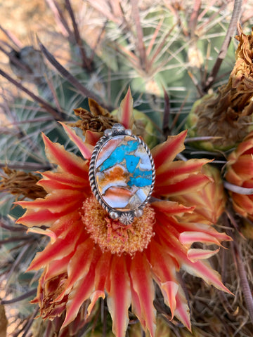 Kingman Turquoise & Spiny Oyster Shell ring size 7 3/4