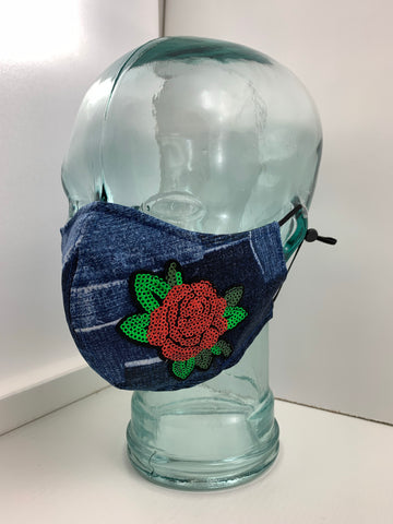 Couture Face Mask in Denim & Roses