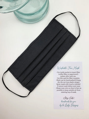 Fashionable Face Mask in Black Polka Dot