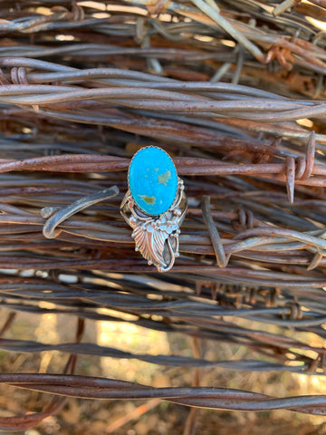 Floral Kingman Turquoise ring size 8
