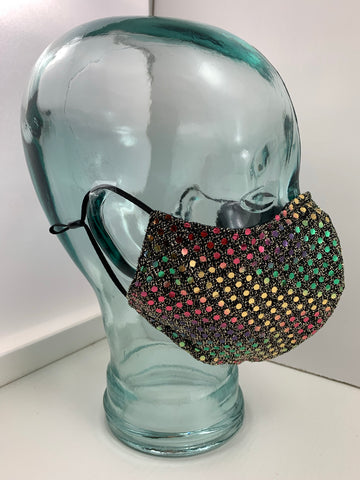 Couture Face Mask in Gold Multi Sequin