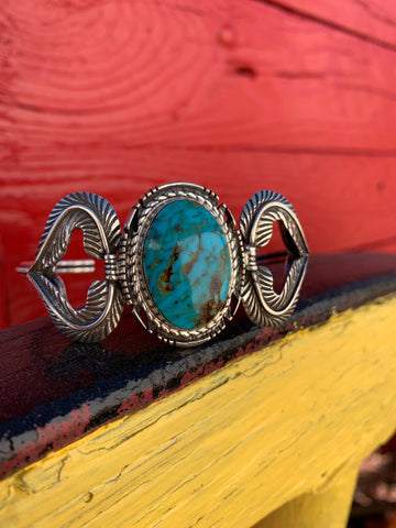 Kingman Turquoise Feathered cuff