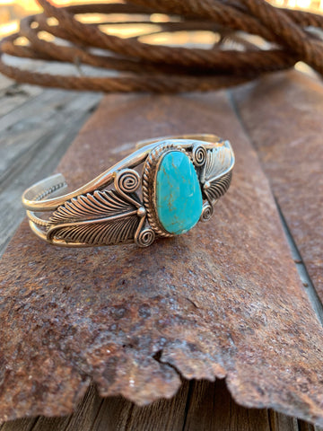 Feathers with Kingman Turquoise cuff