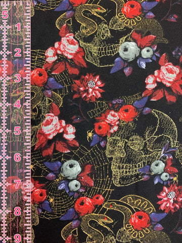 Couture Face Mask in Skulls & Roses