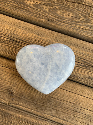Blue Calcite Large Gemstone Carved Heart