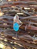 Floral Kingman Turquoise ring size 8 1/2