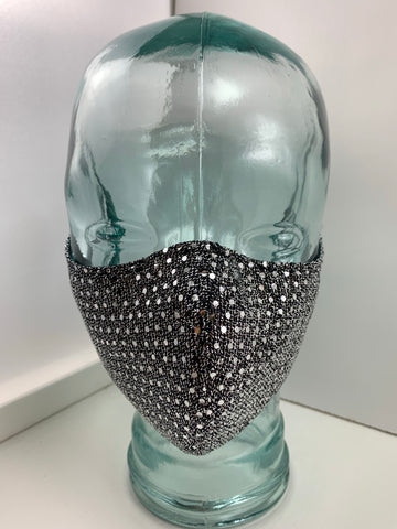 Couture Face Mask in Gunmetal Sequin
