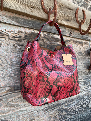 Shoulder & Messenger bag set in Cranberry