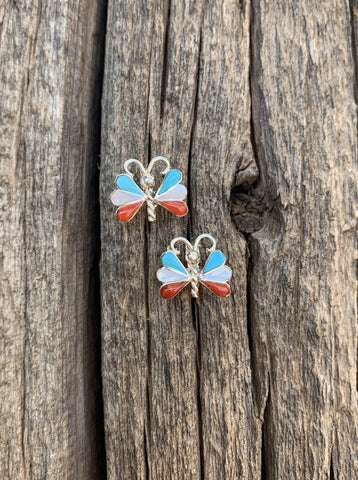 Turquoise & Coral butterfly post earrings