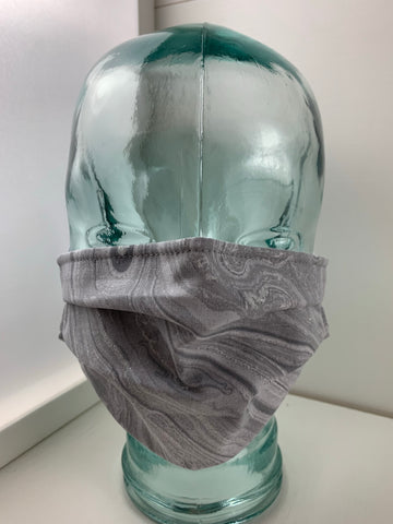 Fashionable Face Mask in Silver Grey Swirl