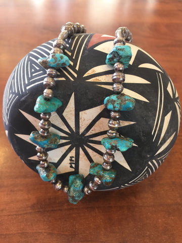 Vintage Turquoise Nugget & Navajo Pearl necklace