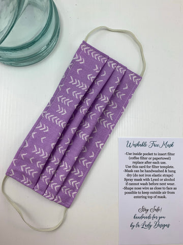 Fashionable Face Mask in Lilac Chevron