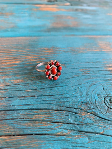 Coral Cluster ring size 7 1/4