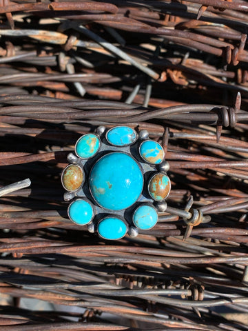 Artisan Cluster Turquoise ring size 8 1/2
