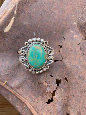 Swirls Oval Turquoise ring size 8 1/2
