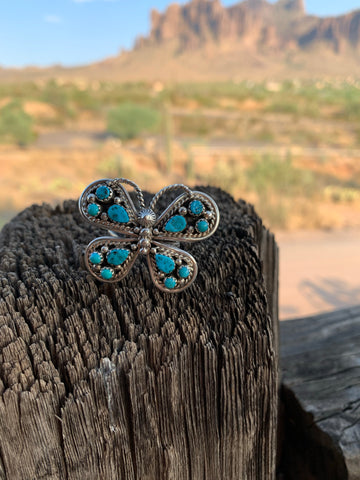 Butterfly of Turquoise Adjustable ring size 10