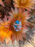 Kingman Turquoise & Spiny Oyster Shell Oval ring size 8 1/2