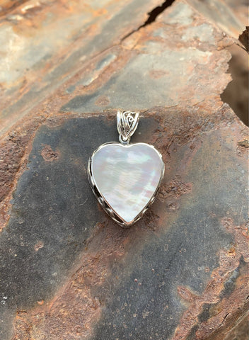 Mother of Pearl Scroll Heart pendant