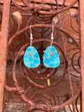 Teardrop Slabs of Kingman Turquoise earrings