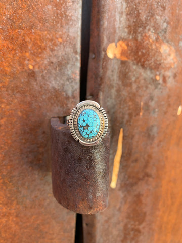 Kingman Spiderweb Turquoise ring size 9