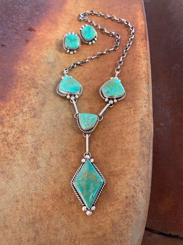 Lariat Kingman Green necklace set