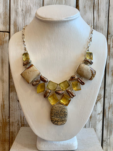 Picture Jasper, Freshwater Pearls & Quartz necklace