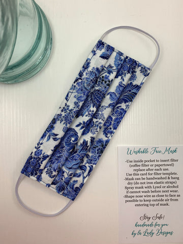 Fashionable Face Mask in Blue Porcelain