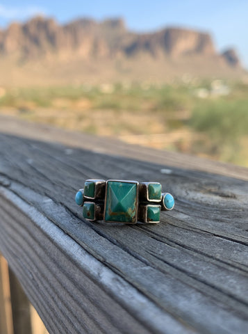 Pyramid of Kingman Turquoise ring size 7 1/2