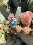 Pink Opal & Turquoise ring size 7 1/2