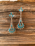 Needlepoint Kingman Turquoise Chandelier earrings