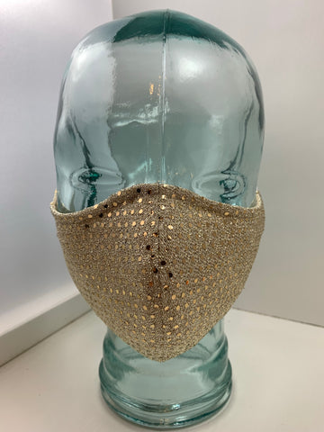Couture Face Mask in Gold Sequin