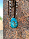 Teardrop of Kingman Turquoise Pendant necklace