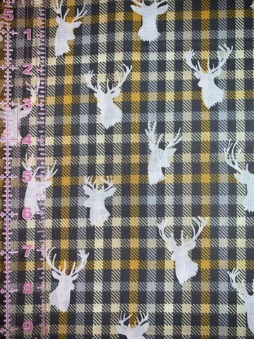 Fashionable Face Mask in Grey Plaid & Deer