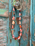 Orange Spiny Shell & Turquoise necklace
