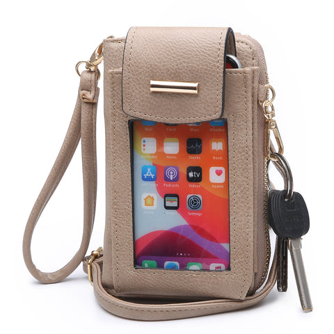 Window Phone Wristlet / Cross-body in Tan