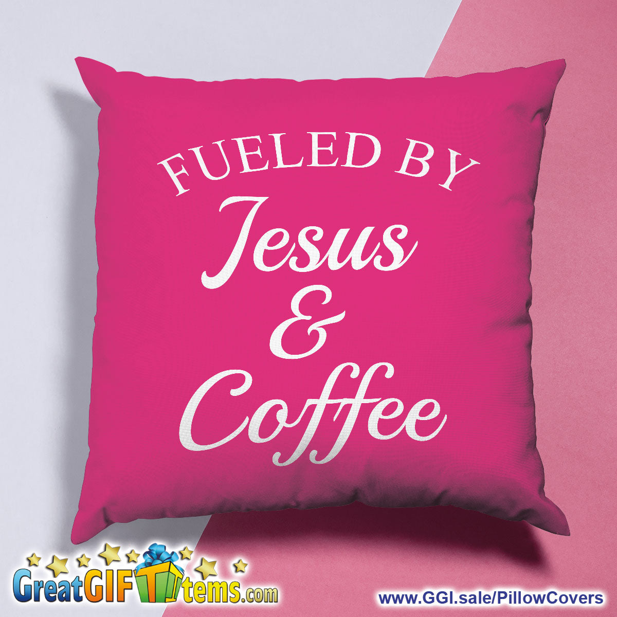 Fueled By Jesus And Coffee Throw Pillow Cover
