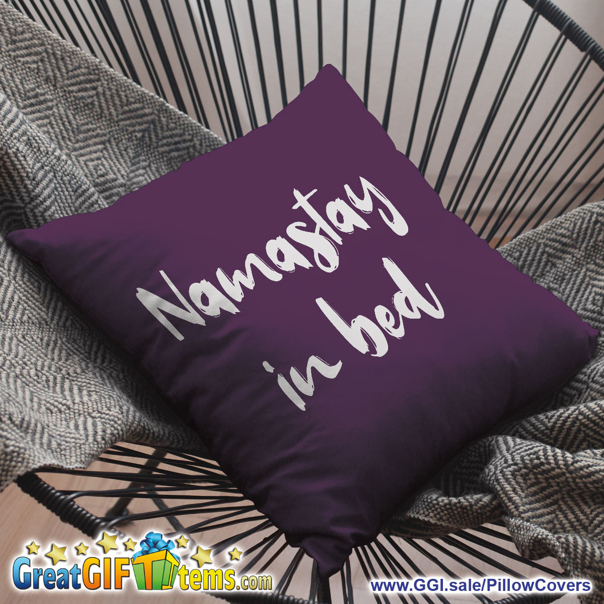 Namastay In Bed Throw Pillow Cover
