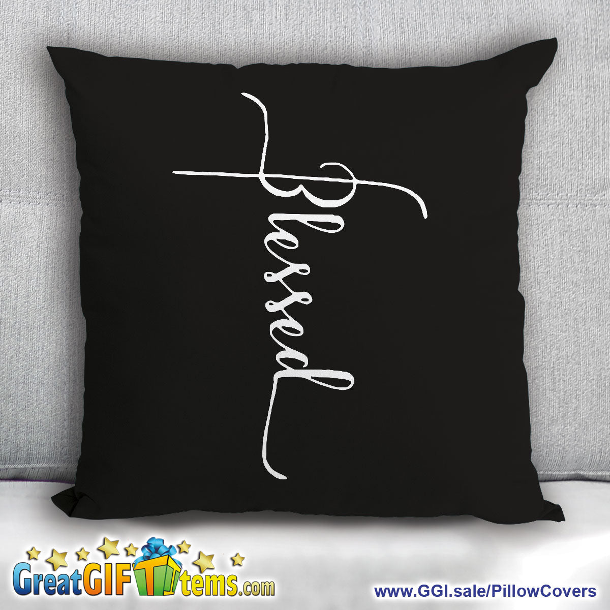 Blessed With The Cross Throw Pillow Cover