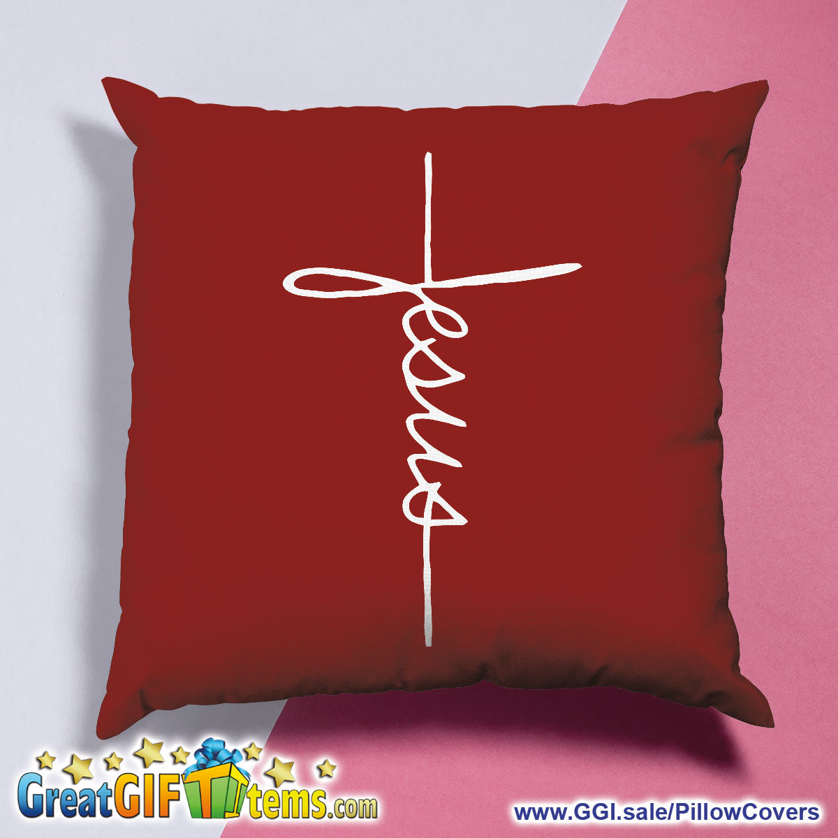 Jesus Cursive Cross Throw Pillow Cover