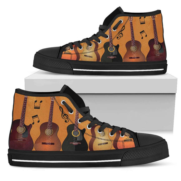Guitar Black High Top Canvas Shoes - GreatGiftItems.com