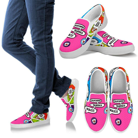 Lady's Comic Book California Nurse Slip-On Shoes