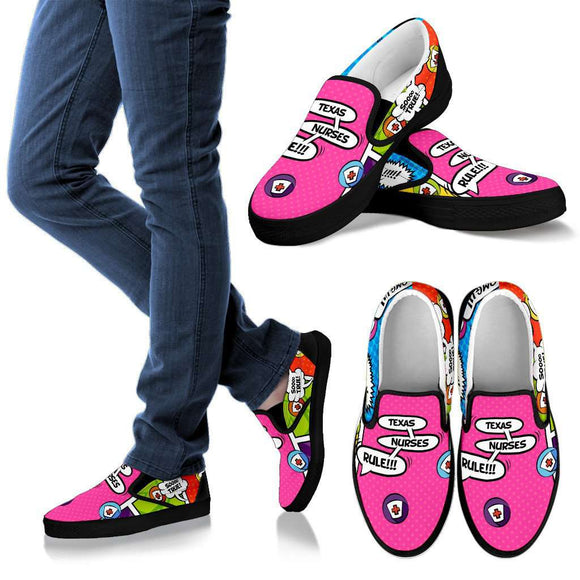 Men's Comic Book Texas Nurse Slip-On Shoes