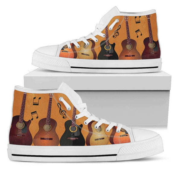 Guitar White High Top Canvas Shoes - GreatGiftItems.com