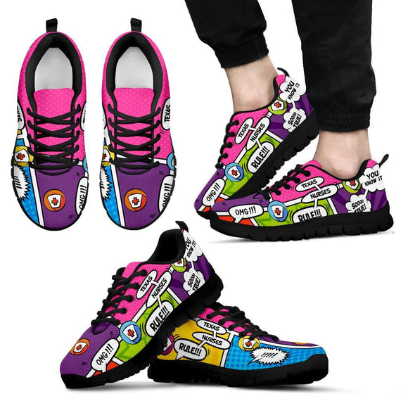 Men's Comic Book Texas Nurse Sneakers