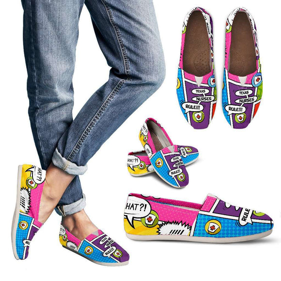Lady's Comic Book Texas Nurse Casual Canvas Shoes