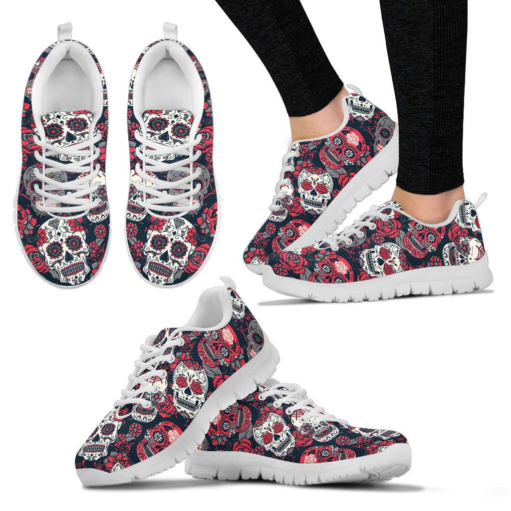 Red Sugar Skull Sneakers