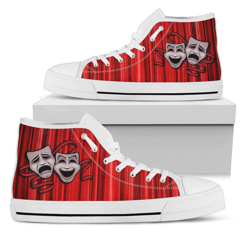 Theater Lovers White High Top Canvas Shoes