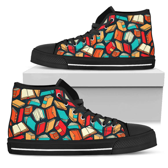 Book Lover's Black High Tops Canvas Shoes - GreatGiftItems.com