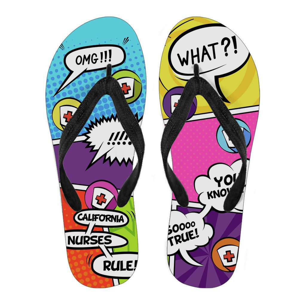 Men's Comic Book California Nurse Flip Flops